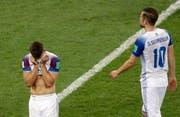 Island ist raus, die Spieler entsprechend enttäuscht nach dem verlorenen Spiel gegen Kroatien. (Bild: AP Photo/Mark Baker)