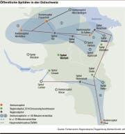 Die Grafik zeigt, wie schnell die einzelnen Spitäler der Region von wo aus erreichbar sind.