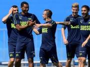 Im Topteam von France Football: Manuel Akanji und Xherdan Shaqiri (im Vordergrund) (Bild: KEYSTONE/LAURENT GILLIERON)