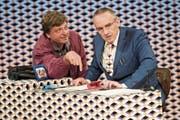 Philippe Graber und Patrick Frey zeigen am Freitag ihre Komödie «Der Kredit» in Weinfelden. (Bild: Caro Gammenthaler, Casino Theater Winterthur)
