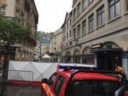 Im Stadtzentrum von St. Gallen wurde im Mai 2016 ein Mann vor seiner Haustüre erschossen. Am 3. Juli steht der mutmassliche Täter vor Gericht. (Bild: ARCHIV SDA)