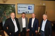 Vertraten gestern die Mitgliederfirmen der Gruppe Zuger Generalunternehmer (GZGU): Nick Staub von der Aula AG, Martin Lenz Senior von der Martin Lenz AG, Beat Stocker von der Alfred Müller AG und Philipp Peikert von der p-4 AG (v. l.). (Bild: Daniel Frischherz (Zug, 26. Juni 2018))