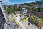 Blick auf die Grossbaustelle im Areal des Kantonsspitals. Im Bild der Teil, auf dem das Haus 07A entsteht. (Bild: Michel Canonica)