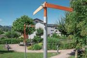 Baugespann für die Norderweiterung des «Felsenheims» in Sachseln. (Bild: Daniel Reinhard/PD)