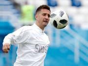 Mario Gavranovics erster WM-Einsatz von Beginn weg (Bild: KEYSTONE/AP/ANTONIO CALANNI)