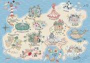 Hier würden wir gern Ferien machen: auf einer Insel in der Süsssee voller zauberhafter Sehenswürdigkeiten. (Bild: Illustration: Ana de Lima/«Atlas der wundersamen Orte»)
