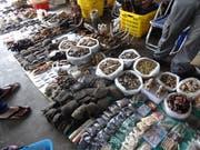 An Märkten wird getrocknete Elefantenhaut angeboten. (Bild: WWF)