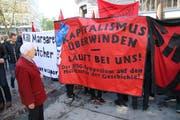 An der «Smash little WEF»-Kundgebung vom Frühling 2017. Linke und links-autonome Kreise protestieren damit Jahr für Jahr gegen das St.Gallen Symposium, das Wirtschaftsführer, Politiker und Wissenschafter an der Universität zusammenbringt. (Bild: Reto Voneschen - 29. April 2017)