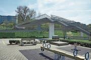 Neu mit Rampe: Die Fussgänger-Passerelle am Oberstockenweg beim Bahnhof Bruggen wird velotauglich gemacht. (Visualisierung: PD)
