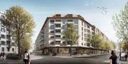 So wird der Strassenraum im Bereich der neuen Himmelrich-Überbauung aussehen: Vorne die Bundesstrasse, links die Himmelrichstrasse. (Visualisierung pd)