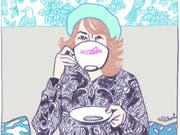 Mit scharfem Blick und spitzer Feder fängt Ulli Lust ironiegetränkte Alltagsmomente ein und garniert sie wie bei diesem Selbstportrait von 2009 (Ausschnitt) mit eigenen Akzenten. (Bild: Ulli Lust/Cartoonmuseum)