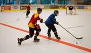 Hockey auf Rädern: Spieler des IHC Wil Eagles beim Training in der Eishalle Bergholz. (Bild: Claudio Weder)