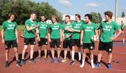 Die Neuen (von links): Goalie Nicola Aeberhard, Nico Engeler, Lars Frei, Janik Loosli, Marcel Huber, Alessandro Köppel, Joel Steinauer und Franco Collenberg. (Bild: Mario Gaccioli)
