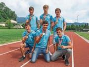 Diese sechs jungen Leichtathleten haben in Lausanne Gold geholt. (Bild: pd)