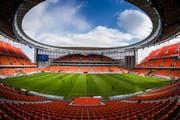 Das Stadion in Jekaterinburg mit seinen Stahltribünen wird zurückgebaut. Bild: Anton Basanaev/AP