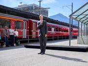 RhB-Direktor Renato Fasciati gab den Startschuss zu den Arbeiten für den Neubau des Bahnhofs Landquart mit 500 Millionen Franken Gesamtinvestitionen. (Bild: KEYSTONE/GIAN EHRENZELLER)