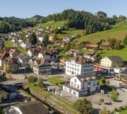 Hergiswil bei Willisau: Blick vom Kirchturm ins Dorfzentrum.