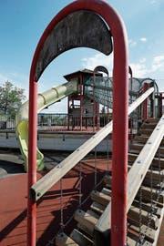 Der Spielplatz Sunnegrund 1 soll neue Spielgeräte für die Kinder erhalten. (Bild: Stefan Kaiser, 1. Juni 2018)