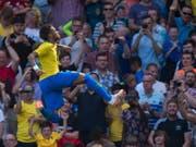 Neymar jubelt nach seinem Tor gegen Kroatien ausgelassen (Bild: KEYSTONE/EPA/PETER POWELL)