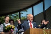 Mit einem «Grüezi mitenand!» begrüsste Bundesrat Ueli Maurer die Gäste. In seiner Grussbotschaft liess er wissen, dass die schönsten Frauen aus dem Kanton Thurgau stammen. (Bild: Reto Martin)