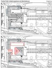 Die Baupläne im Feldli: Oben der bisherige Zustand, unten in rot die Teile, die jetzt verändert werden. (Illustration: Hochbauamt der Stadt St.Gallen)