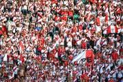 Peruanische Fans am Sonntag beim Fussball-Länderspiel Peru gegen Saudi Arabien im Kybunpark. (Bild: Ralph Ribi)
