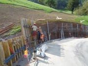Bauarbeiten währender der ersten Etappe der Sanierung der Wiesenbergstrasse. Bild: PD