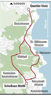 Der Weg zum Schulhaus Mattli führt entweder via St.-Niklausen- und Kreuzmattstrasse oder via Mättiwil und Kastanienbaumstrasse. (Grafik: Oliver Marx)