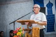 Herdern TG - 20 Jahre Gemeinde Herdern. Fest in der Maschinenhalle Herdern. Festansprache durch OK-Präsident Jörg Himmelberger. (Bild: Andrea Stalder)