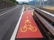 Der Geh- und Radweg führt über die temporäre Strassenüberführung. (Bild: PD)