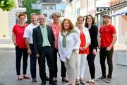 Barbara Dätwyler, Walter Hugentobler, Turi Schallenberg , Cornelia Komposch, Sonja Wiesmann, Edith Graf-Litscher, Nina Schläfli und Beat Schenk. (Bild: Donato Caspari)