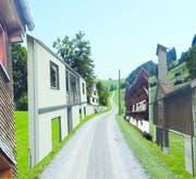 In Krinau werden Fassaden zwei Wochen lang zur Projektionsfläche für Kunst. Dafür soll der Verein «Kunsthallen Toggenburg» 12'000 Franken erhalten. (Visualisierung: PD)