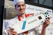 Mario Garcia nach seinem Sieg an der Schweizer Ausscheidung zum renommierten Kochwettbewerb Bocuse d'Or. (Bild: Keystone/Salvatore Di Nolfi (22. Januar 2018))