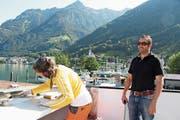 Matthias Steinegger beim Besuch auf der «Baustelle Wilhelm Tell». (Bild: Bruno Arnold (Flüelen, 30. Mai 2018))