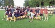 Die Horwer feiern den Einzug in die Aufstiegsrunde. (Bild: Michael Wyss (Emmenbrücke, 2. Juni 2018))