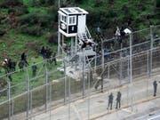 Immer wieder versuchen Flüchtlinge den Grenzzaun der spanischen Nordafrika-Exklave Ceuta zu überwinden. (Aufnahme vom 9. Dezember 2016) (Bild: Keystone/EPA EFE/REDUAN)