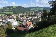 Das Bütschwiler Schulhaus Dorf befindet sich aus diesem Blickfeld vor der katholischen Kirche. Gut zu sehen ist der Sportplatz. (Bild: Anina Rütsche)