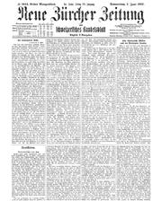 So sah die Titelseite der «Neuen Zürcher Zeitung» am Donnerstag, 7. Juni 2018 aus. Es ist eine historische Front aus dem Jahr 1917 desselben Tages. Der untere Artikel trägt den Titel «Volkstümliches aus Zug». Bild: PD/NZZ
