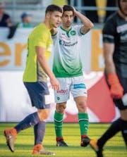 St. Gallens Nassim Ben Khalifa hätte das Spiel gegen Thun im Alleingang entscheiden können. Doch dem Stürmer gelang es nicht, eine seiner Chancen zu verwerten. (Bild: Urs Bucher)