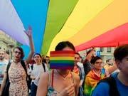 Mitglieder der rumänischen LGBT-Community an der Gay-Pride-Parade in Bukarest. (Bild: Keystone/EPA/BOGDAN CRISTEL)
