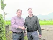 Auf Luca Volar (rechts) folgt Patrick Dürr: Der Präsident der CVP Kanton St.Gallen übernimmt auch das Präsidium der CVP Widnau. (Bild: pd)