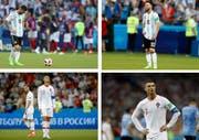 Konsternierte Superstars: Argentiniens Lionel Messi (oben) und Portugals Cristiano Ronaldo nach dem Out im WM-Achtelfinal. Bilder: AP