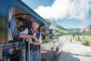 Eine Lokomotive der Dampfbahn Furka Bergstrecke unterwegs in Realp. (Bild: Keystone/Urs Flüeler (23. 6. 2018))