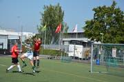 TZ-Goalie Markus Müller in Rot hat den Ball vor Markus Zahnd (grünweiss). Urs Brüschweiler (TZ) läuft sich derweil warm. (Bild: Mathias Frei)