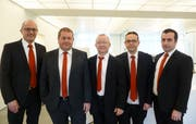 Die Leitung der Raiffeisenbank Aadorf: Patrick Müller, Philipp Leutenegger, Peter Bühler, René Blöchlinger und Anton Sopi (Bild: PD)