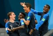 Jubelnde Gesichter bei den französischen Spielern. (Bild: Keystone)