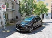 Das neue Elektroauto befindet sich auf dem Mobility-Parkplatz beim Balmerhaus. (Bild: Carmen Kaufmann)