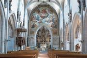 Monumental: Melchior Paul von Deschwandens «Jüngstes Gericht» in der Kirche St.Oswald. (Bild: Maria Schmid (Zug, 2. Juli 2018))