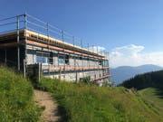 Noch vor wenigen Tagen war das Berggasthaus eingerüstet. (Bild PD)