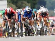 Der Kolumbianer Fernando Gaviria, im blauen Dress in der Mitte, gewann nach der 1. auch die 4. Etappe im Massensprint (Bild: KEYSTONE/AP/CHRISTOPHE ENA)
